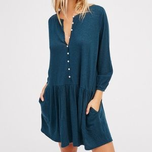 Free People Beach teal linen/cotton dress size XS